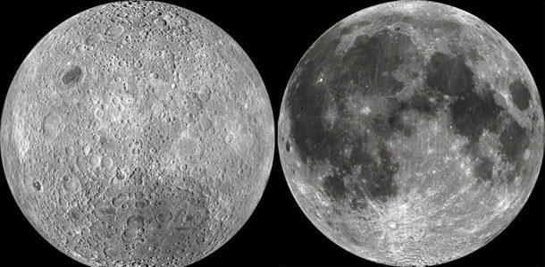 """Близката (ляво) и """"тъмната страна"""" (дясно) на Луната"""